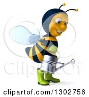Clipart Of A 3d Happy Gardener Bee Facing To The Right And Using A Watering Can Royalty Free Illustration