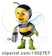 Clipart Of A 3d Happy Gardener Bee Using A Watering Can Royalty Free Illustration