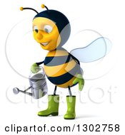 Clipart Of A 3d Happy Gardener Bee Facing Left And Using A Watering Can Royalty Free Illustration