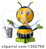 Clipart Of A 3d Happy Gardener Bee Meditating And Holding A Watering Can Royalty Free Illustration