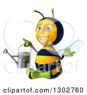 Clipart Of A 3d Happy Gardener Bee Facing Left Meditating And Holding A Watering Can Royalty Free Illustration