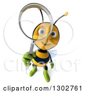 Clipart Of A 3d Happy Gardener Bee Looking Up Through A Magnifying Glass Royalty Free Illustration