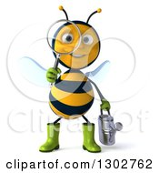 Clipart Of A 3d Happy Gardener Bee Holding A Watering Can And Searching With A Magnifying Glass Royalty Free Illustration