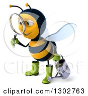 Clipart Of A 3d Happy Gardener Bee Holding A Watering Can Facing Left And Searching With A Magnifying Glass Royalty Free Illustration