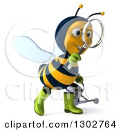 Clipart Of A 3d Happy Gardener Bee Holding A Watering Can Facing Right And Searching With A Magnifying Glass Royalty Free Illustration