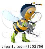 Clipart Of A 3d Happy Gardener Bee Walking Holding A Watering Can And Searching With A Magnifying Glass Royalty Free Illustration