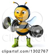 Clipart Of A 3d Happy Gardener Bee Doing Bicep Curls With Dumbbells Royalty Free Illustration