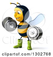 Clipart Of A 3d Happy Gardener Bee Facing Left Doing Bicep Curls With Dumbbells Royalty Free Illustration
