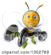 Clipart Of A 3d Happy Gardener Bee Looking Up And Doing Bicep Curls With Dumbbells Royalty Free Illustration