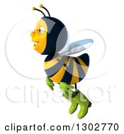 Clipart Of A 3d Happy Gardener Bee Flying To The Left Royalty Free Illustration