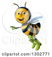 Clipart Of A 3d Happy Gardener Bee Flying And Pointing To The Left Royalty Free Illustration