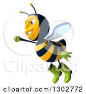 Clipart Of A 3d Happy Gardener Bee Flying Left Royalty Free Illustration