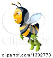 Clipart Of A 3d Happy Gardener Bee Flying And Facing To The Left Royalty Free Illustration