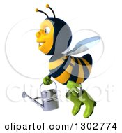 Clipart Of A 3d Happy Gardener Bee Facing Left And Flying With A Watering Can Royalty Free Illustration