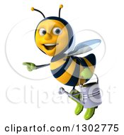 Clipart Of A 3d Happy Gardener Bee Pointing Left And Flying With A Watering Can Royalty Free Illustration