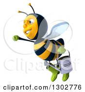 Clipart Of A 3d Happy Gardener Bee Facing Left And Flying With A Watering Can 2 Royalty Free Illustration