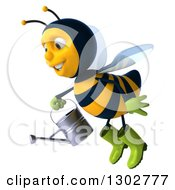 Clipart Of A 3d Happy Gardener Bee Facing Left And Flying With A Watering Can 3 Royalty Free Illustration