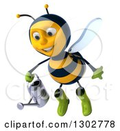Clipart Of A 3d Happy Gardener Bee Flying With A Watering Can Royalty Free Illustration
