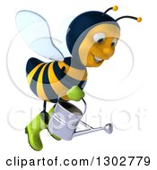 Clipart Of A 3d Happy Gardener Bee Flying To The Right With A Watering Can Royalty Free Illustration