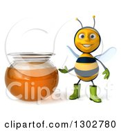 Clipart Of A 3d Happy Gardener Bee Presenting A Honey Jar Royalty Free Illustration