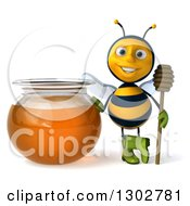 Clipart Of A 3d Happy Gardener Bee Holding A Honey Dipper By A Jar Royalty Free Illustration