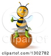 Clipart Of A 3d Happy Gardener Bee Giving A Thumb Up And Sitting On A Honey Jar Royalty Free Illustration