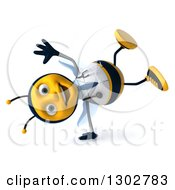 Clipart Of A 3d Happy Bee Doctor Cartwheeling Royalty Free Illustration