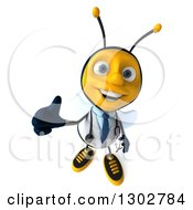 Clipart Of A 3d Happy Bee Doctor Holding Up A Thumb Royalty Free Illustration