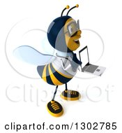 Clipart Of A 3d Happy Bespectacled Bee Doctor Facing Right And Holding A Laptop Computer Royalty Free Illustration