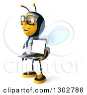 Clipart Of A 3d Happy Bespectacled Bee Doctor Facing Left And Holding A Laptop Computer Royalty Free Illustration