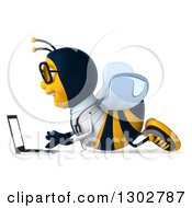 Clipart Of A 3d Happy Bespectacled Bee Doctor Facing Left And Using A Laptop Computer On The Floor Royalty Free Illustration