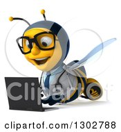 Clipart Of A 3d Happy Bespectacled Bee Doctor Facing Slightly Left And Using A Laptop Computer On The Floor Royalty Free Illustration