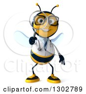 Clipart Of A 3d Happy Bespectacled Bee Doctor Searching With A Magnifying Glass Royalty Free Illustration
