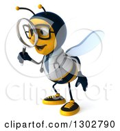 Clipart Of A 3d Happy Bespectacled Bee Doctor Facing Left And Searching With A Magnifying Glass Royalty Free Illustration