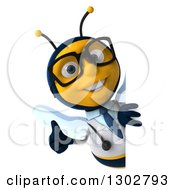 Clipart Of A 3d Happy Bespectacled Bee Doctor Giving A Thumb Up Around A Sign Royalty Free Illustration