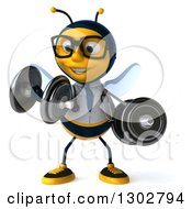 Clipart Of A 3d Happy Bespectacled Bee Doctor Doing Bicep Curls With Dumbbells Royalty Free Illustration