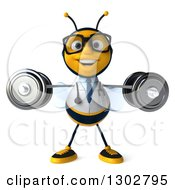 Clipart Of A 3d Happy Bespectacled Bee Doctor Doing Lateral Raises With Dumbbells Royalty Free Illustration