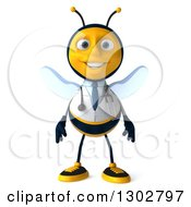 Clipart Of A 3d Happy Bee Doctor Royalty Free Illustration