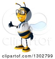 Clipart Of A 3d Happy Bespectacled Bee Doctor Facing Left And Giving A Thumb Up Royalty Free Illustration