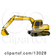 Yellow Trackhoe Excavator Clipart Illustration