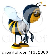 Clipart Of A 3d Sad Bespectacled Bee Doctor Facing Right And Pouting Royalty Free Illustration