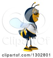 Clipart Of A 3d Happy Bespectacled Bee Doctor Facing Right Royalty Free Illustration