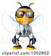 Clipart Of A 3d Sad Bespectacled Bee Doctor Pouting Royalty Free Illustration