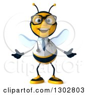 Clipart Of A 3d Happy Bespectacled Bee Doctor Welcoming Royalty Free Illustration