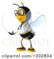 Clipart Of A 3d Happy Bespectacled Bee Doctor Facing Left And Presenting Royalty Free Illustration