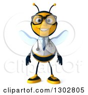 Clipart Of A 3d Happy Bespectacled Bee Doctor Royalty Free Illustration