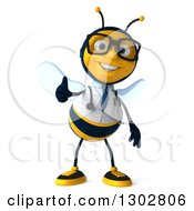 Clipart Of A 3d Happy Bespectacled Bee Doctor Giving A Thumb Up Royalty Free Illustration