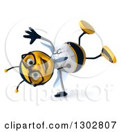 Clipart Of A 3d Happy Bespectacled Bee Doctor Cartwheeling Royalty Free Illustration