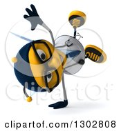 Clipart Of A 3d Happy Bespectacled Bee Doctor Facing Right And Cartwheeling Royalty Free Illustration
