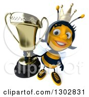 Clipart Of A 3d Happy Queen Bee Holding Up A Trophy Royalty Free Illustration